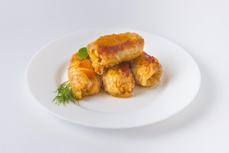 Folhas da couve enchida com culinária romena tradicional da carne fotografia de stock royalty free