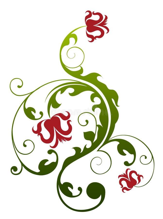 Folhas da flor e do verde dos lótus ilustração do vetor