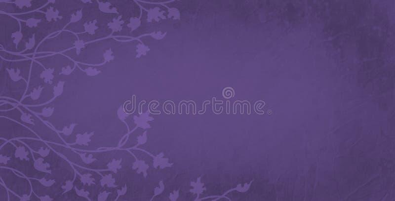 folhas da hera e da videira em claro - esboço roxo no fundo escuro, projeto de escalada da beira bonita Beira floral da natureza ilustração do vetor