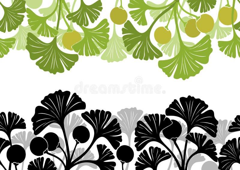 Folhas da nogueira-do-Japão Biloba, sem emenda ilustração do vetor