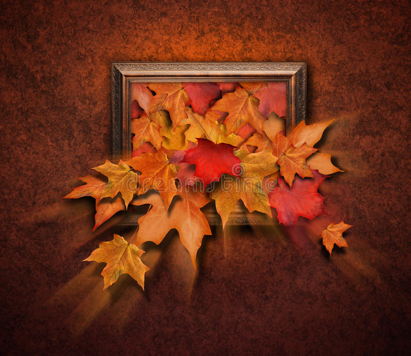 Folhas da queda que saem do frame antigo foto de stock royalty free