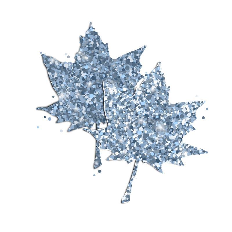 Folhas de bordo bonitos do brilho no branco ilustração do vetor