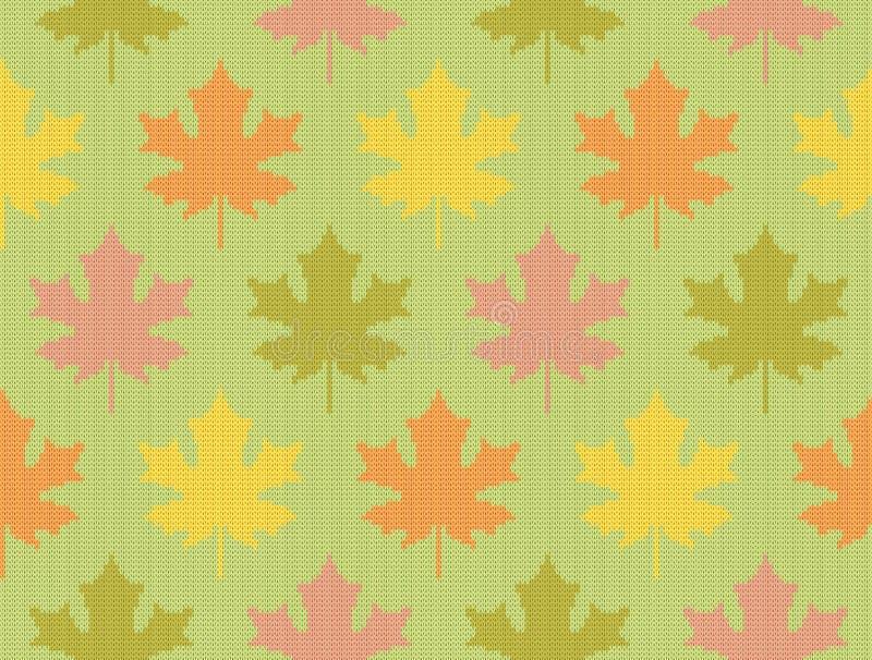 Folhas de bordo da queda - teste padrão de confecção de malhas sem emenda ilustração stock