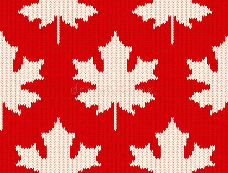 Folhas de bordo no vermelho - teste padrão de confecção de malhas sem emenda ilustração stock