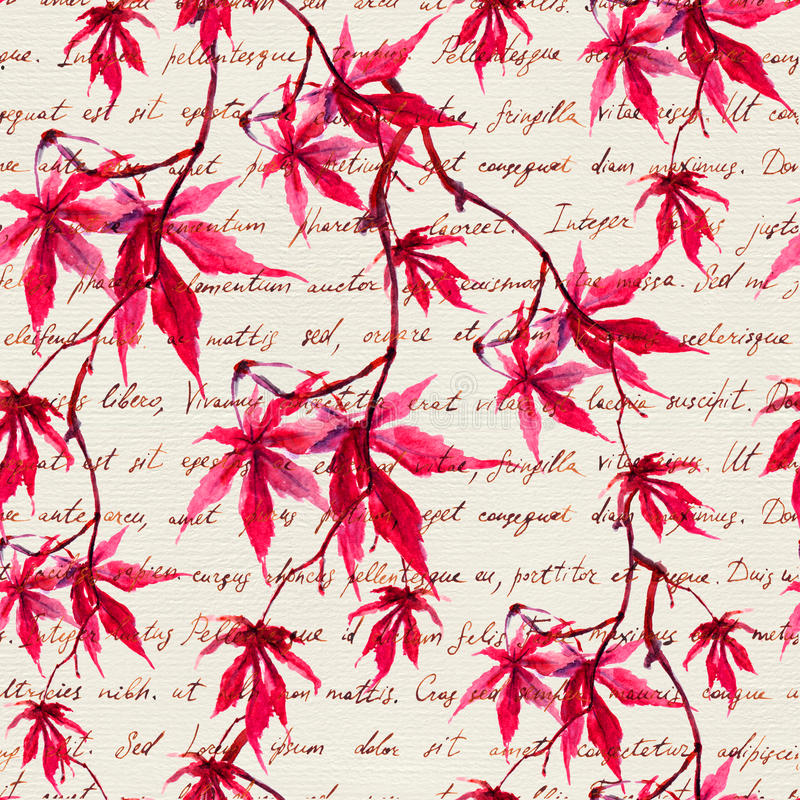 Folhas de bordo vermelhas com texto escrito da mão Teste padrão sem emenda watercolor foto de stock royalty free