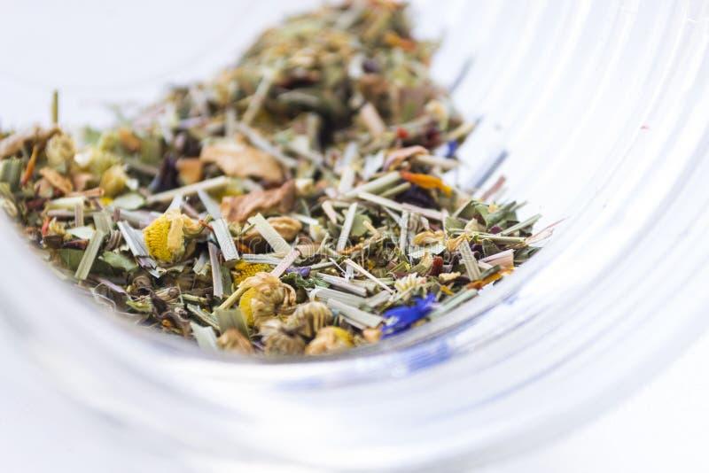 Folhas de chá ervais secadas da camomila no frasco de vidro transparente no li imagens de stock royalty free