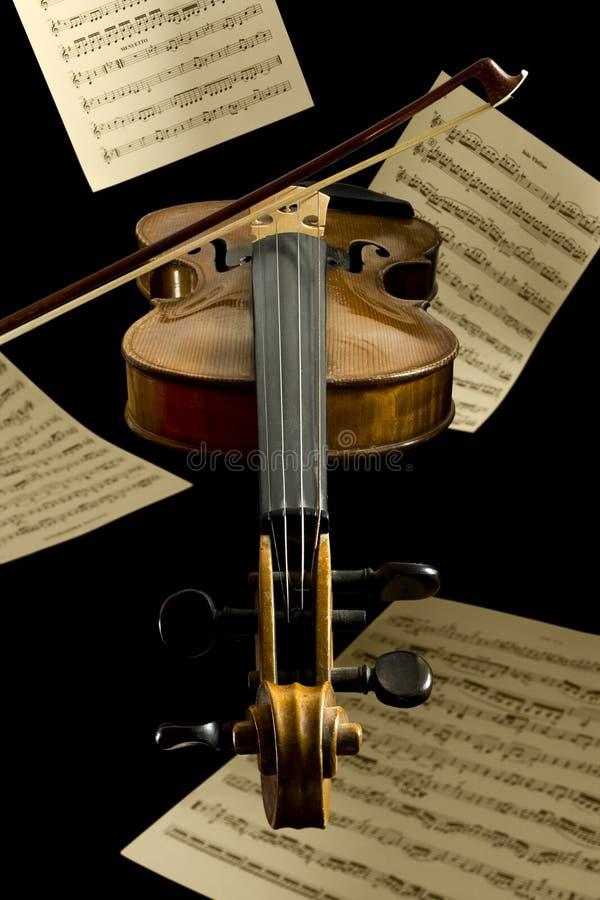 Folhas de flutuação do violino e da notação fotos de stock royalty free