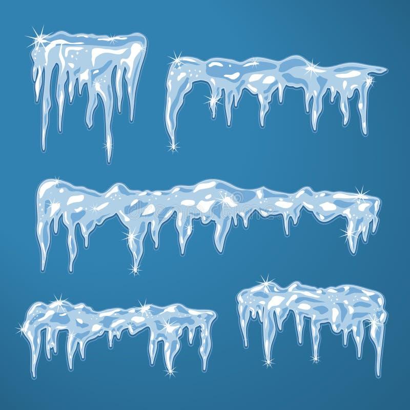 Folhas de gelo com sincelos ilustração royalty free