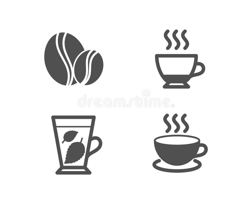 Folhas de hortelã, de feijões do café e de café ícones Sinal do cappuccino Folha do Mentha, bebida quente, feijão inteiro ilustração stock