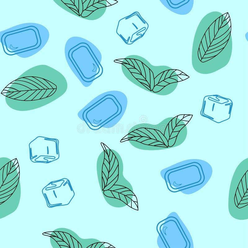 Folhas de hortelã, pastilha de hortelã com doces de hortelã Entregue a vetor tirado testes padrões sem emenda, ervas picantes, te ilustração do vetor