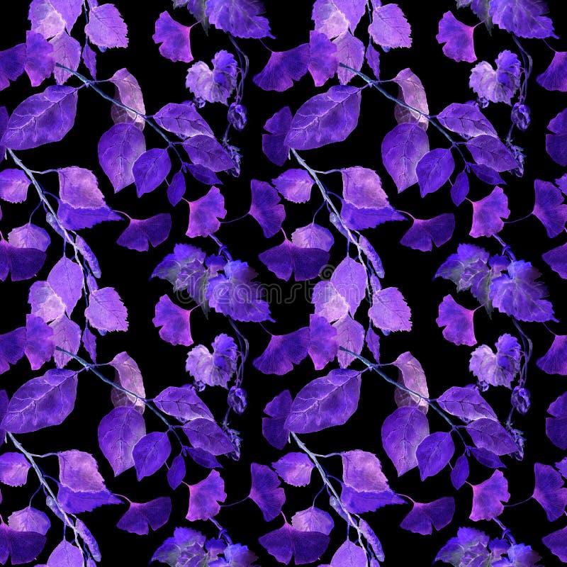 Folhas de incandescência do néon Teste padrão sem emenda misterioso da noite watercolor ilustração do vetor