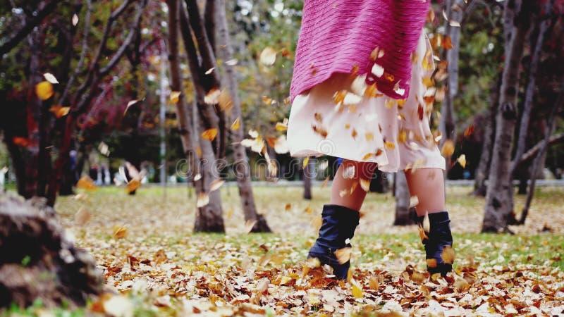 Folhas de jogo da mulher feliz em um parque da queda do outono Feche acima da ideia de seus pés foto de stock royalty free