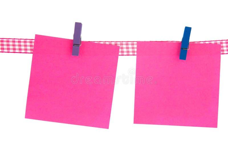 Folhas de memorando cor-de-rosa fotografia de stock royalty free