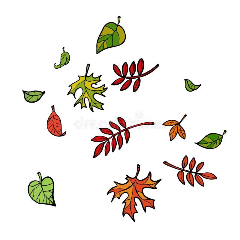 Folhas de outono, árvores da natureza ilustração royalty free
