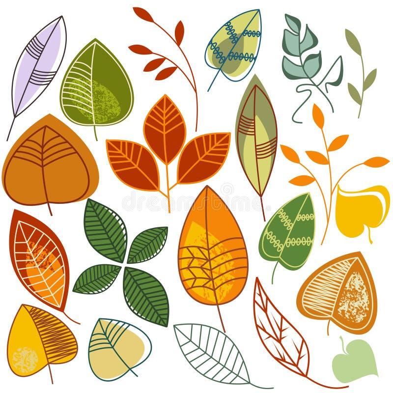 Folhas de outono ajustadas ilustração do vetor