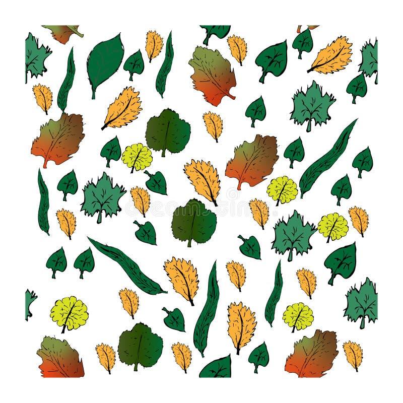 Folhas de outono ajustadas ilustração stock
