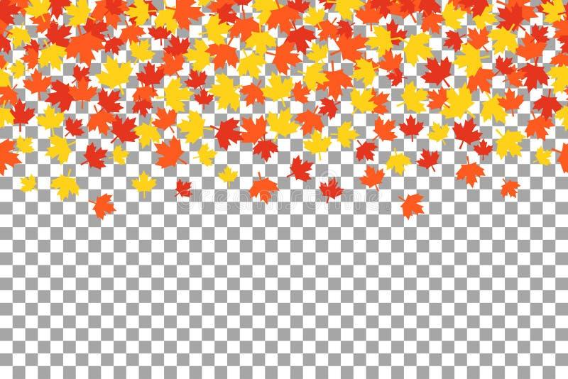 Folhas de outono alaranjadas do witn do fundo da ação de graças ilustração do vetor