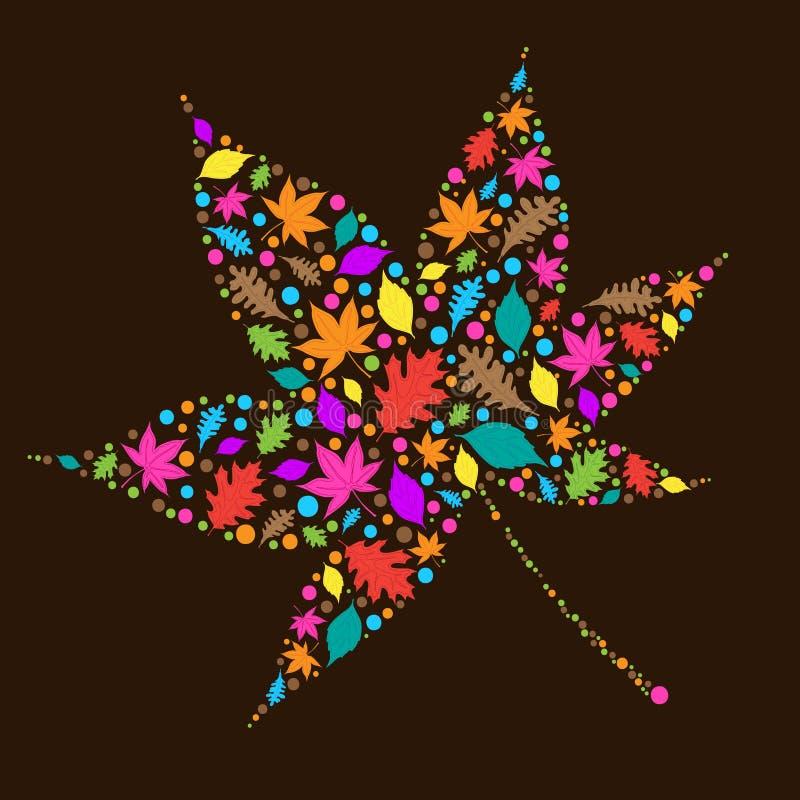 Folhas de outono coloridas ilustração do vetor