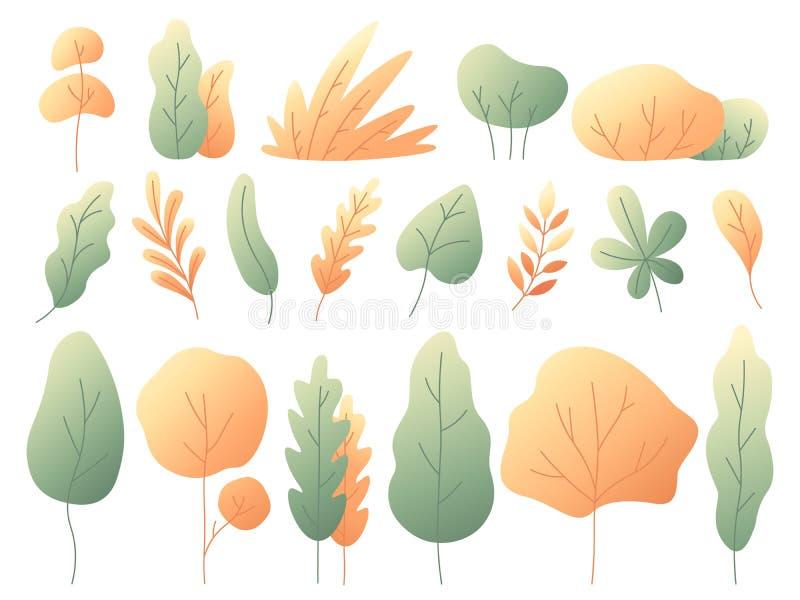 Folhas de outono coloridas simples Árvores e arbustos outonais Grupo liso do vetor da folha do amarelo de Minimalistic ilustração stock