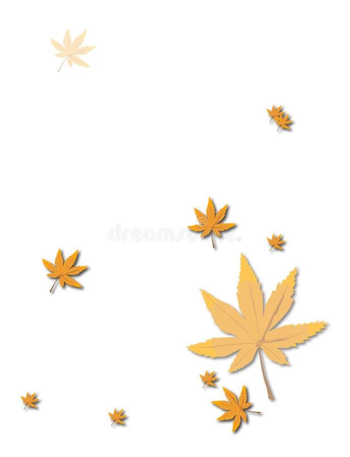 Folhas de outono do ouro sobre brilhantemente ilustração do vetor