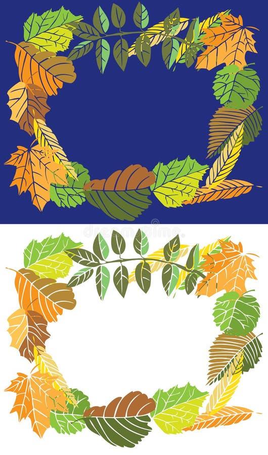 Folhas de outono do quadro ilustração stock