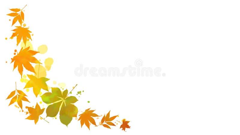 Folhas de outono e quadro das manchas da aquarela ilustração stock