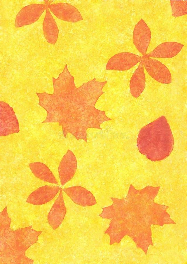 Folhas de outono em um estilo do grunge ilustração stock