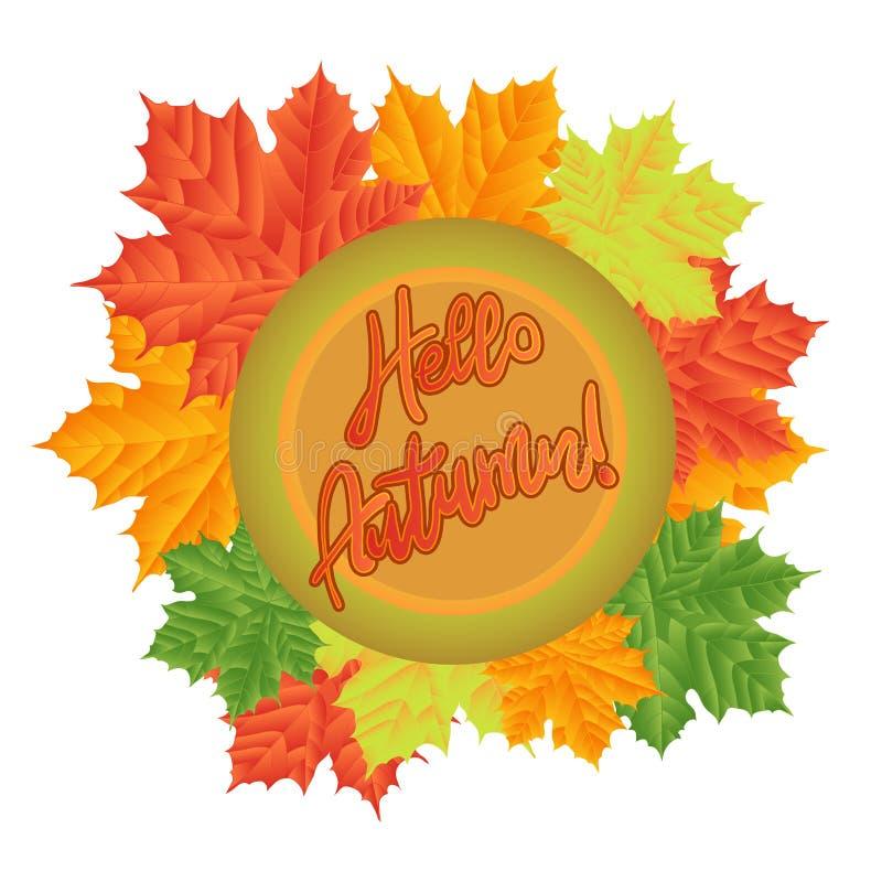 Folhas de outono em um fundo branco Isolado Illustrati do vetor ilustração do vetor