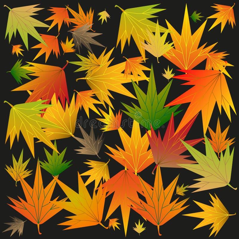Folhas de outono em um fundo preto ilustração do vetor