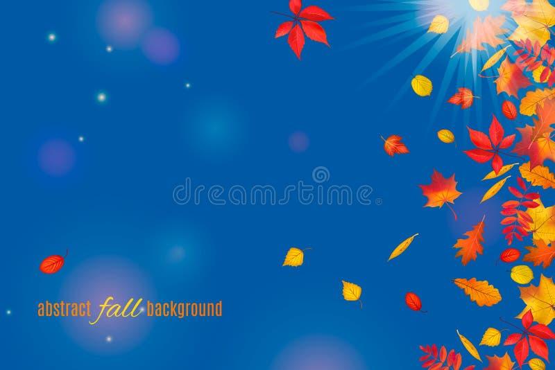 Folhas de outono isoladas no fundo claro do céu azul ilustração do vetor