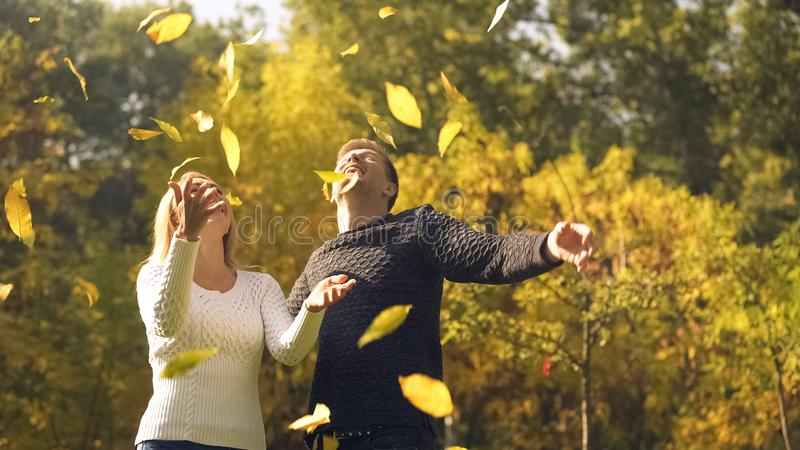 Folhas de outono de jogo dos pares alegres acima, tendo o divertimento, passando o tempo junto fotografia de stock