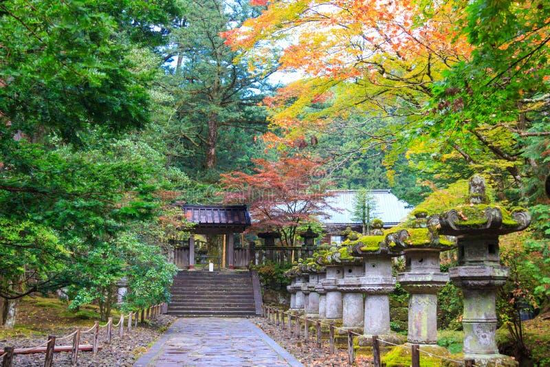 Folhas de outono no templo de Taiyuin, Nikko Japão foto de stock