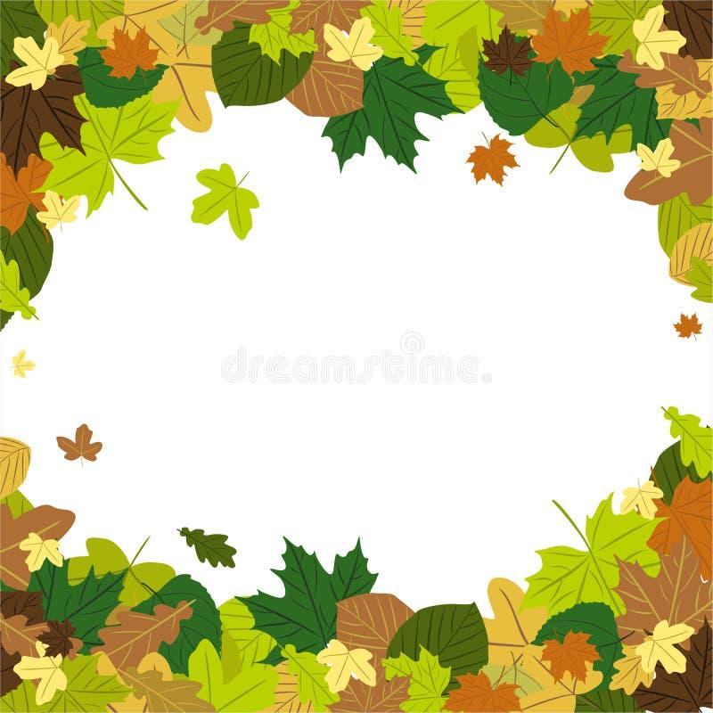 Folhas de outono no vento ilustração do vetor