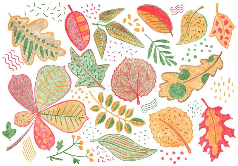 Folhas de outono pelo lápis da cor no fundo branco Ilustração desenhado à mão de queda do pastel da folha Clipart vermelho amarel ilustração royalty free