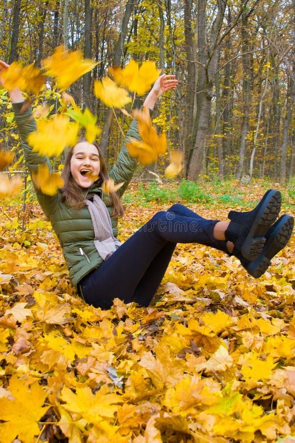 Folhas de outono que caem na jovem mulher feliz na floresta foto de stock royalty free