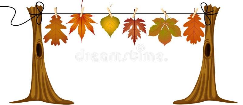 Folhas de outono que penduram para secar ilustração royalty free