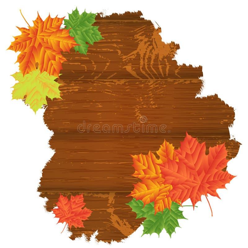 Folhas de outono sobre o fundo de madeira Com espaço da cópia ilustração stock