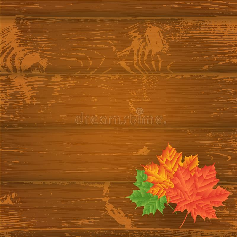 Folhas de outono sobre o fundo de madeira Com espaço da cópia Illu do vetor ilustração stock
