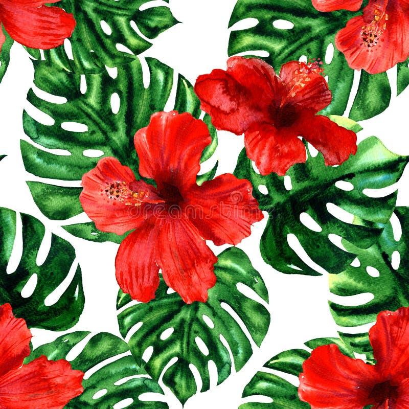Folhas de palmeira e flores tropicais do hibiscus, papel de parede sem emenda havaiano colorido do teste padrão do verão, projeto ilustração royalty free