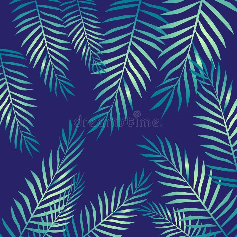 Folhas de palmeira, teste padrão tropical, desenho de lápis ilustração stock