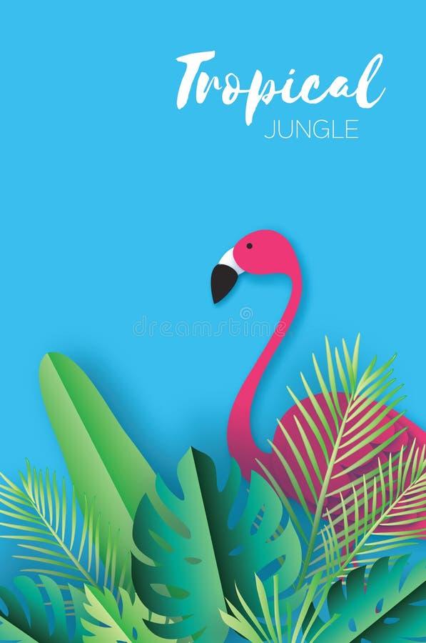 Folhas de palmeira tropicais do verão na moda, plantas estilo do corte do papel flamingo verão havaiano exótico Espaço para o tex ilustração do vetor