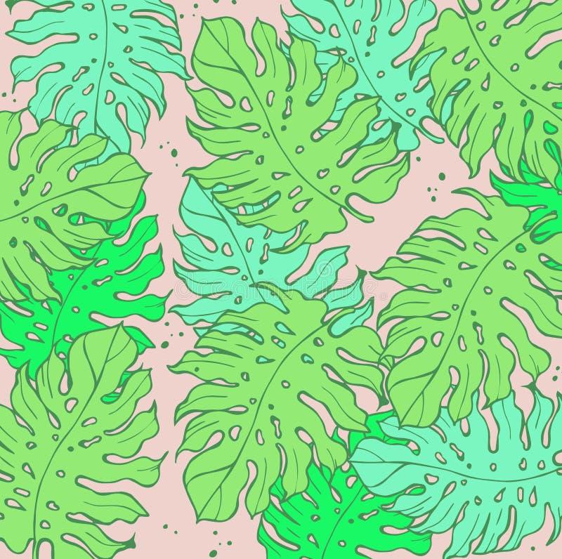 Folhas de palmeira tropicais Fundo do projeto da selva ou molde do cartaz Folhas gravadas ilustração da selva do vetor colorido ilustração royalty free