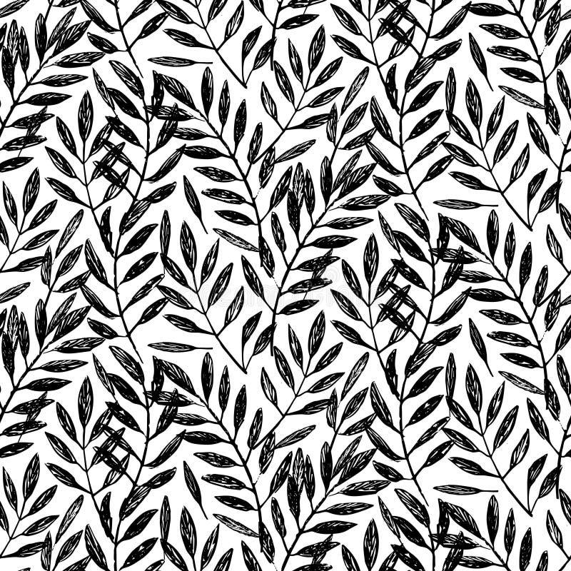 Folhas de palmeira tropicais, teste padrão sem emenda da folha ilustração stock