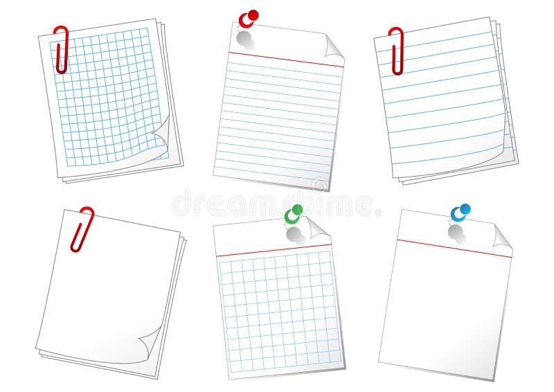 Folhas de papel ilustração do vetor