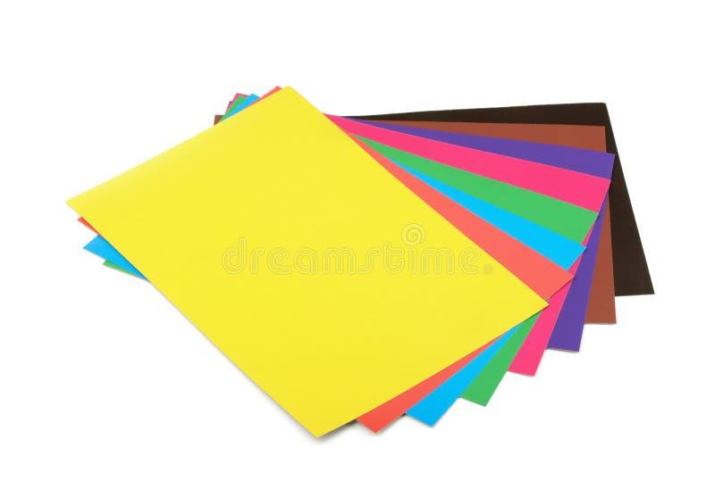 Folhas de papel coloridas fotos de stock