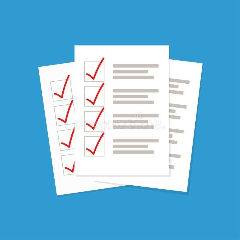 Folhas de papel com ilustra??o do vetor da lista de verifica??o ilustração do vetor