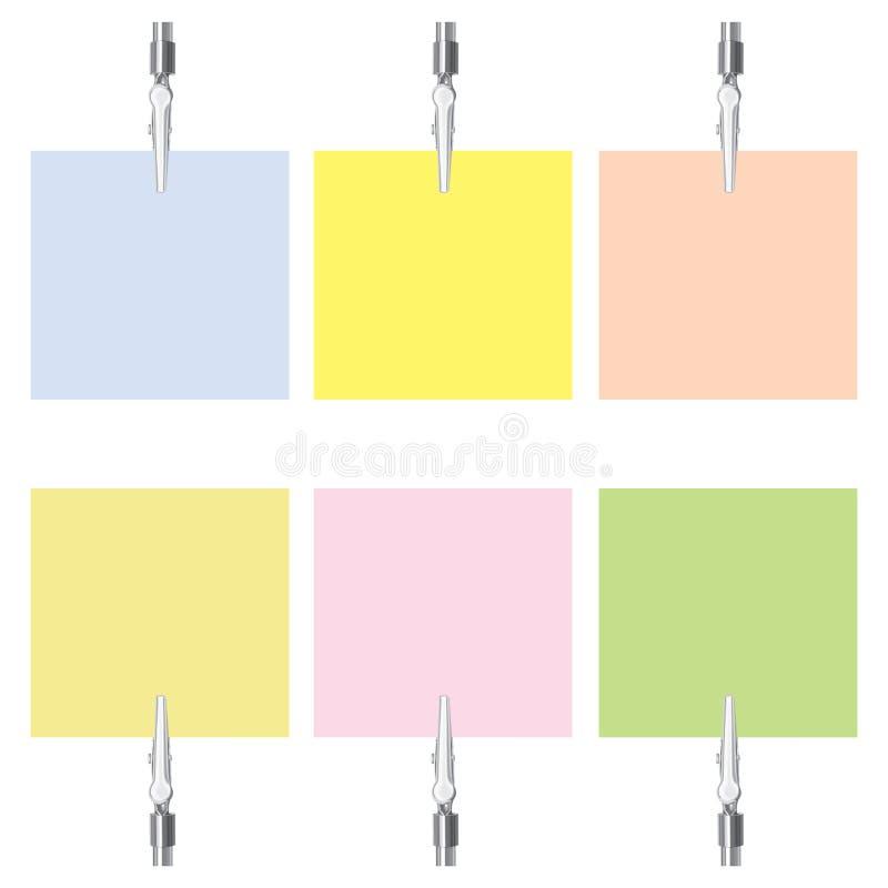 Folhas de papel com os grampos do metal ajustados (vetor, CM ilustração do vetor