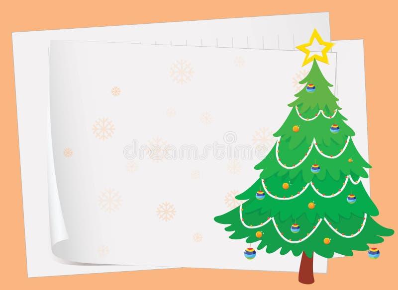 Folhas de papel e uma árvore de Natal ilustração stock
