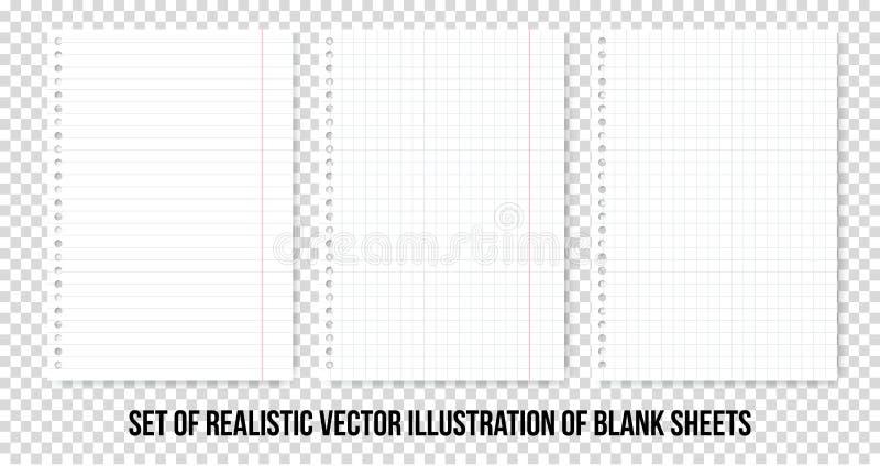 Folhas de papel esquadradas e alinhadas do caderno ou do caderno Folha de papel realística do vetor das linhas e do grupo das pág ilustração stock