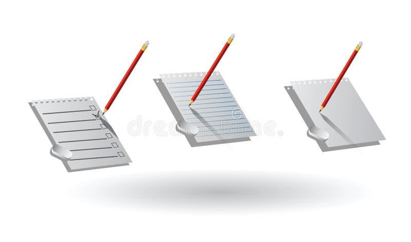 Folhas de papel, lápis, eliminador checklist ilustração stock